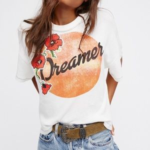 Free People Dreamer Semi Sheer Short Sleeve Tee
